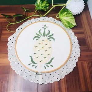 vtg pineapple cross stitch style hoop wall hanging